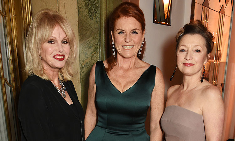 Sarah Ferguson shows off her absolutely fabulous figure with Joanna Lumley (left) and Lesley Manville at the 'Silent No More Gynaecological Cancer Fund and Cancer Research UK' gala event in London.