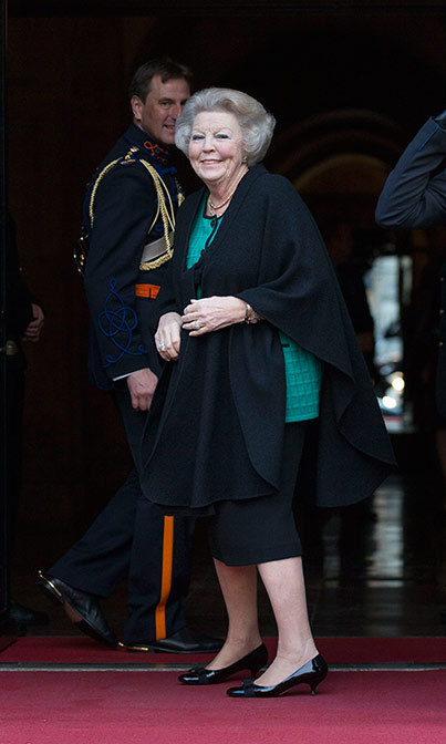 Princess Beatrix of The Netherlands attended the New Year's reception for the diplomatic corps at the Royal Palace in Amsterdam Netherlands. 
