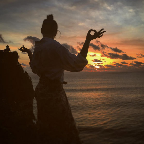 Princess Stephanie of Monaco's daughter Pauline Ducruet who is currently in Bali: 'Holy Sunset  #uluwatu #temple #bali,' she captioned this amazing pic.<br>