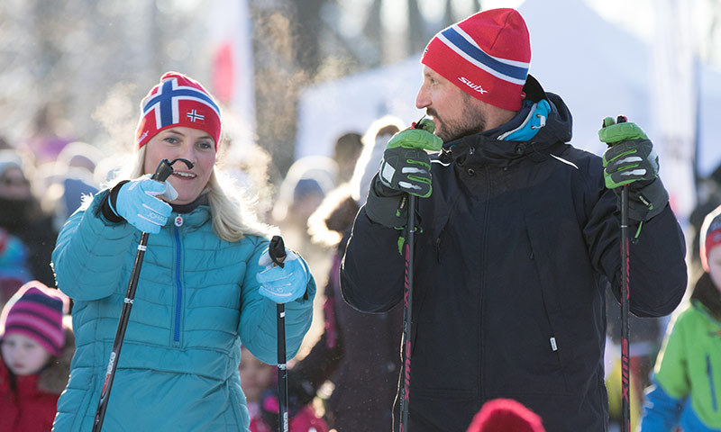 Crown Princess Mette-Marit and husband Crown Prince Haakon wore matching hats during the day's events. 