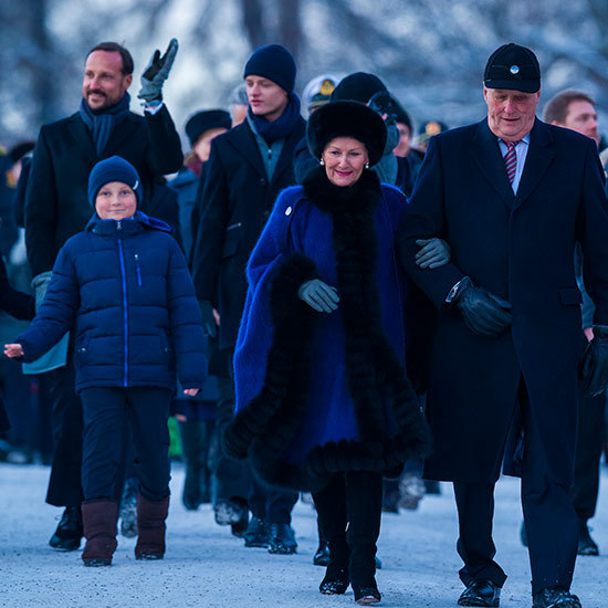 As the light started to fade, the Norwegian royal family headed back indoors, led by King Harald and Queen Sonja. Following behind them were little Prince Sverre Magnus, Crown Prince Haakon and Crown Princess Mette-Marit's son from a previous relationship, Marius Borg. 