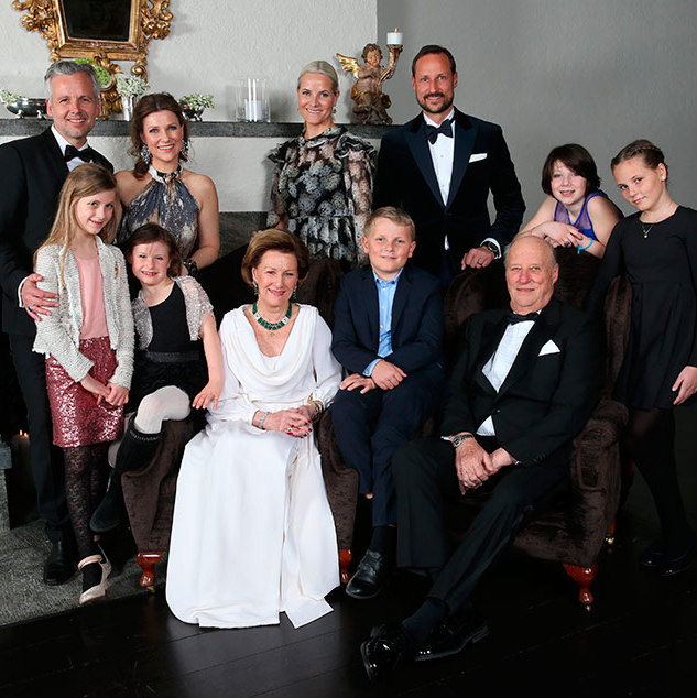 Gathered around the fireplace in this lovely family portrait, taken at the Crown Couple's residence at Skaugum are, back row, from left, Ari Behn and wife Princess Märtha Louise, Crown Princess Mette-Marit, Prince Haakon, Maud Angelica Behn and Princess Ingrid. In the front row, left to right, are Leah Isadora Behn, Emma Tallulah Behn, Queen Sonja  Prince Sverre and King Harald.