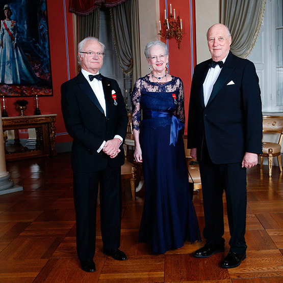 A trio of monarchs: Queen Margrethe of Denmark joined by King Carl Gustaf of Sweden, left, and King Harald of Norway. 