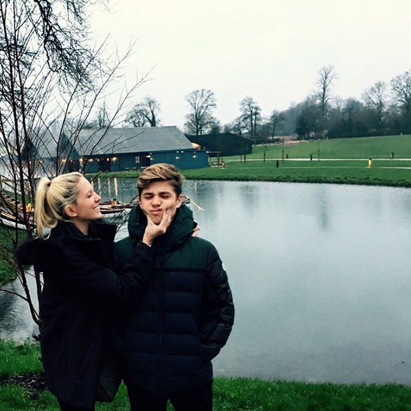 Princess Olympia and Prince Achileas of Greece had a brother-sister moment on a cloudy in Oxfordshire, England.