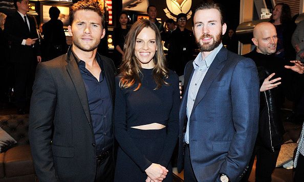 January 19: Hilary Swank was in the right place at the right time, next to Scott Eastwood and Chris Evans during the launch of the Pilot's Watches Novelties from the Swiss luxury watch manufacturer IWC in Switzerland. 