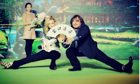 January 19: Kung fu time! Kate Hudson and Jack Black posed for this epic shot during the 'Kung Fu Panda 3' press tour in Shanghai, China. 