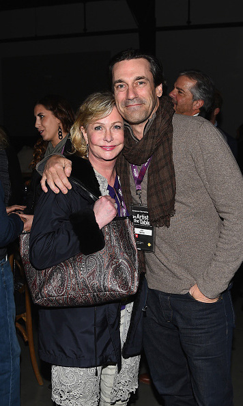 January 21: Lucky lady Lyn Lear snuggled close to 'Mad Men' star Jon Hamm during the An Artist at the Table: cocktails and dinner program benefit during the Sundance Film Festival. 