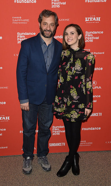January 21: Director Judd Apatow and his not so little girl Maude posed on the carpet during the premiere of her new film 'Other People.'  