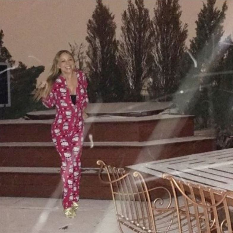 Newly engaged Mariah Carey prepped for the storm.