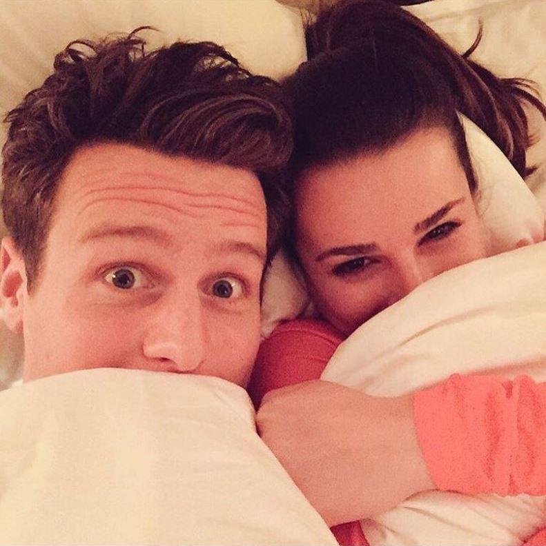 Smart move! Lea Michele cuddled up to BFF Jonathan Groff during the blizzard.