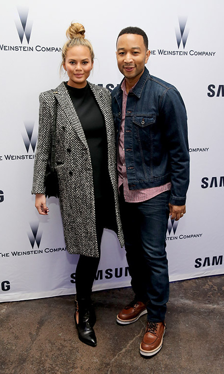 January 24: Football and date night! Parents-to-be John Legend and Chrissy Teigen warmed up inside the Weinstein Sundance Bowl Football Party at the Samsung Studio. 