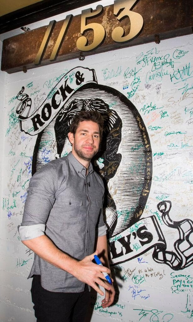 January 23: John Krasinski signed the wall at Bar 53 at Rock & Reilly's and 50 Bleu Lounge during the Sundance Film Festival.