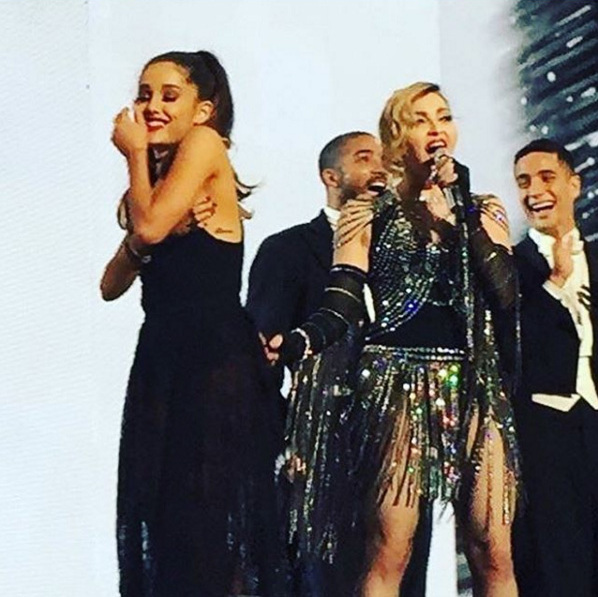 "January 24: Arianna Grande joined Madonna on stage during the Miami stop of her ""Rebel Heart"" tour.