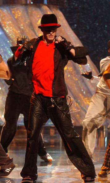 "Justified! Justin took the stage in a Michael Jackson-inspired outfit during the premiere performance of his first solo single ""Like I Love You"" at the MTV Video Music Awards in September 2002. 