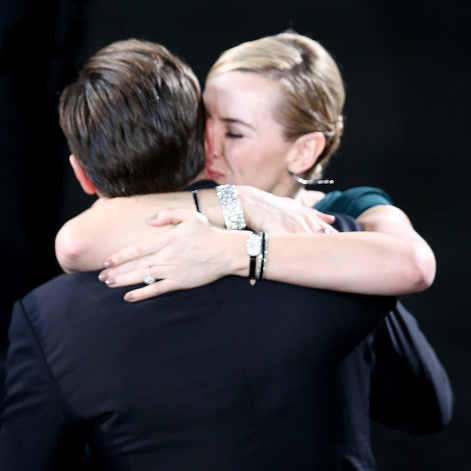 Never letting go! Kate embraced her former 'Titanic' costar for his Outstanding Performance by a Male Actor win at the 2016 SAG Awards. These two have certainly proven that their friendship is one will go on... and on.