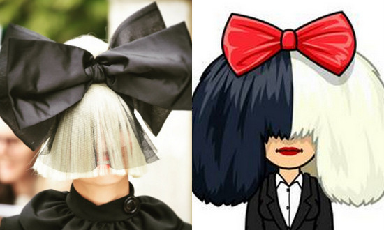 "Sia's avatar bears a striking resemblance to the ""Chandelier"" singer, bow and all!