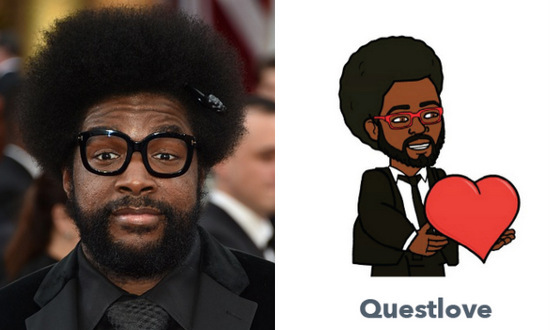 From the glasses to the hair, we love everything about Questlove's bitmoji.