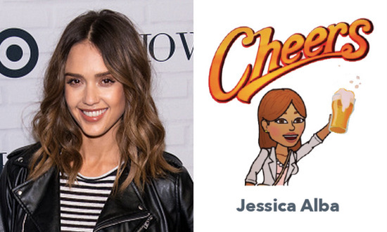 What better way to toast a night out with your girlfriends than with a Jessica Alba bitmoji?!