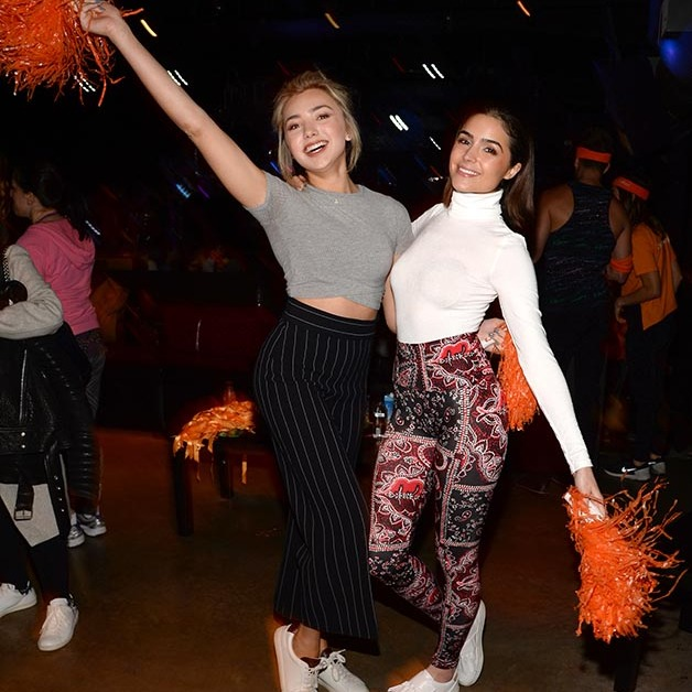 February 3: Cheering to a fresh start! Peyton List and Olivia Culpo had some fun during Clinique's launch celebration for Pep-Start Eye Cream at Daybreaker in NYC. 