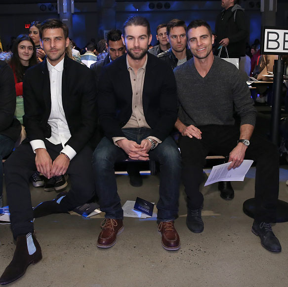 February 2: Front row, in style! Chace Crawford, Colin Egglesfield, and Johannes Huebl during the Nautica Men's Fall 2016 fashion show in NYC.