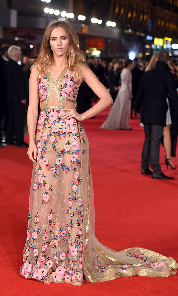 February 1: The perfect pose! Suki Waterhouse was camera ready during the premiere of 'Pride and Prejudice and Zombies' in London. 