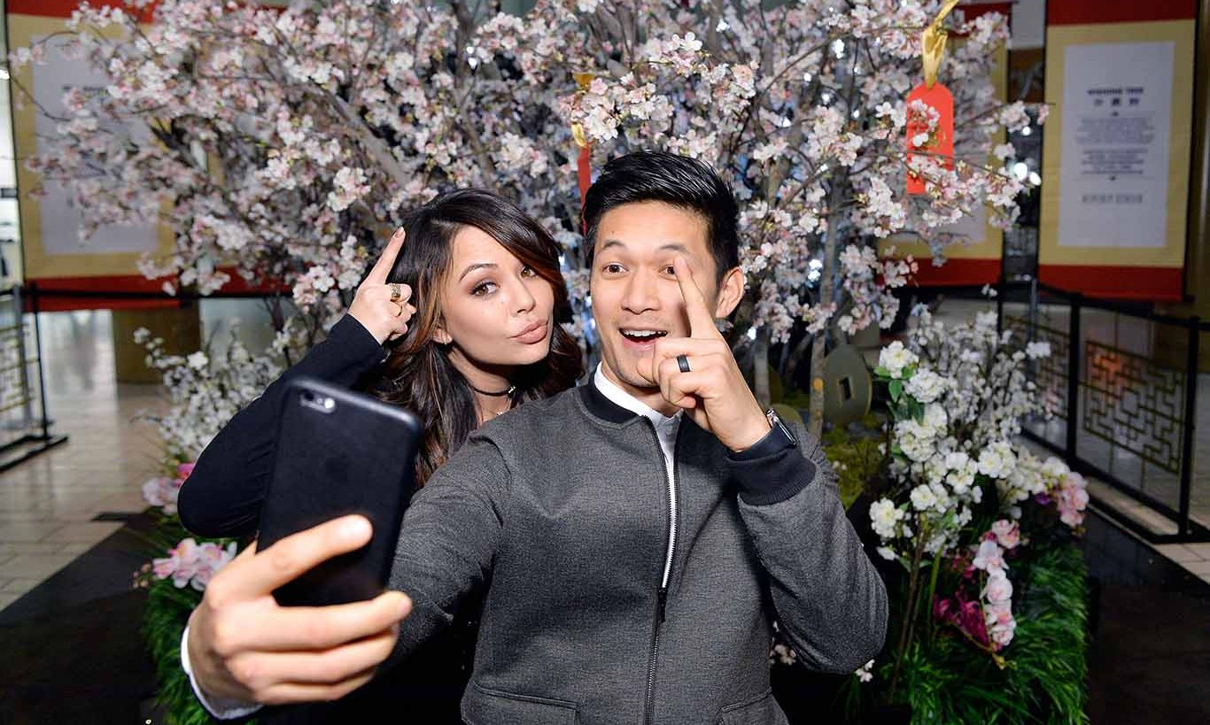 February 4: Selfie time! 'Pretty Little Liars' star Janel Parrish and 'Shadowhunters' actor Harry Shum, Jr. celebrated the Lunar New Year at Beverly Center in L.A.
