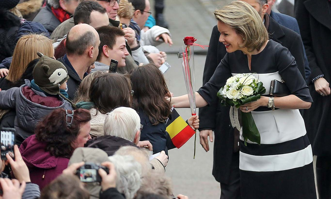 Queen Mathilde of Belgium held a meet-and-greet as she arrived for a royal visit to the Saint-Joseph school in Couvin.