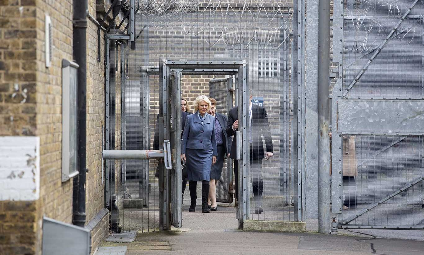 The Duchess of Cornwall had a chance to see life behind bars during a visit to Brixton Prison in London. 