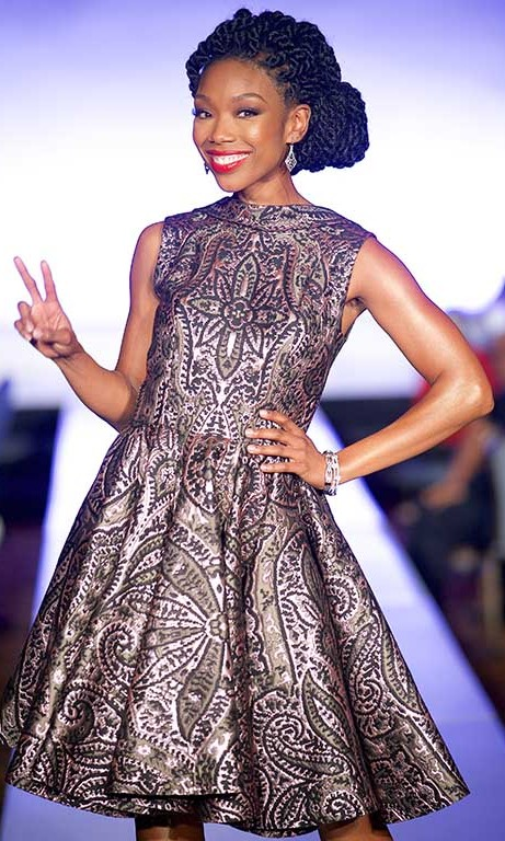 February 4: Singer Brandy Norwood worked the runway at the b Michael Fashion Show during the NAACP Image Awards luncheon presented by Macy's in Pasadena, California. 