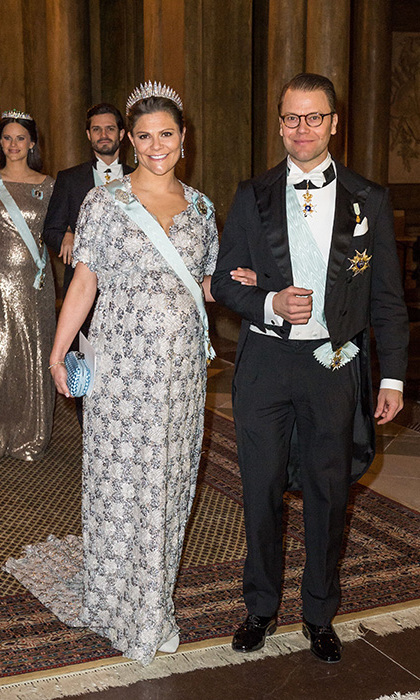 The princess' expectant sister-in-law, Crown Princess Victoria of Sweden, also chose some shimmer for the party as she arrived with husband Prince Daniel.