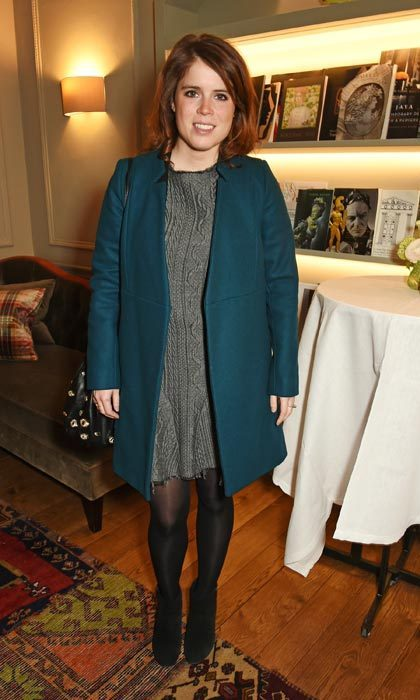 Princess Eugenie wore her fave teal coat over a simple sweater dress as she mingled at the launch of Forte Organics hosted by Irene Forte at Brown's Hotel in London.