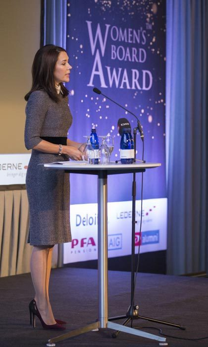 Wearing a grey knit dress, Crown Princess Mary of Denmark added a splash of color with ombré pumps at the Women's Board Awards in Copenhagen.