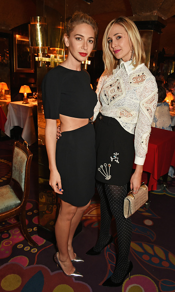 Polka-dot tights are on our must-try list after seeing Elisabeth von Thurn und Taxis, here with the equally stylish Sabine Getty, at the VIP dinner celebrating the launch of Mrs. Alice for French Sole at Annabel's in London.