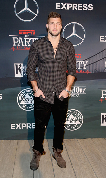 Tim Tebow rocked a casual style for the party.