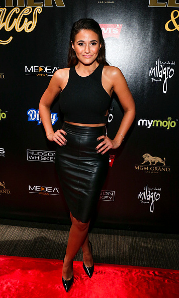 Sticking to the night's theme, actress Emmanuelle Chriqui wore a leather pencil skirt for the 13th annual 'Leather & Laces' Mega Party Super Bowl 50 at Metreon in San Francisco.