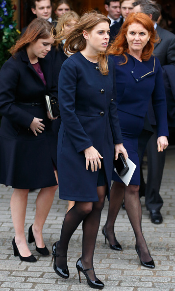 Princess Eugenie, Princess Beatrice and Sarah Ferguson, Duchess of York attended a memorial service for Miles Frost at Arundel Cathedral in England. Miles, son of Sir David Frost, passed away suddenly at age 31 in July 2015.