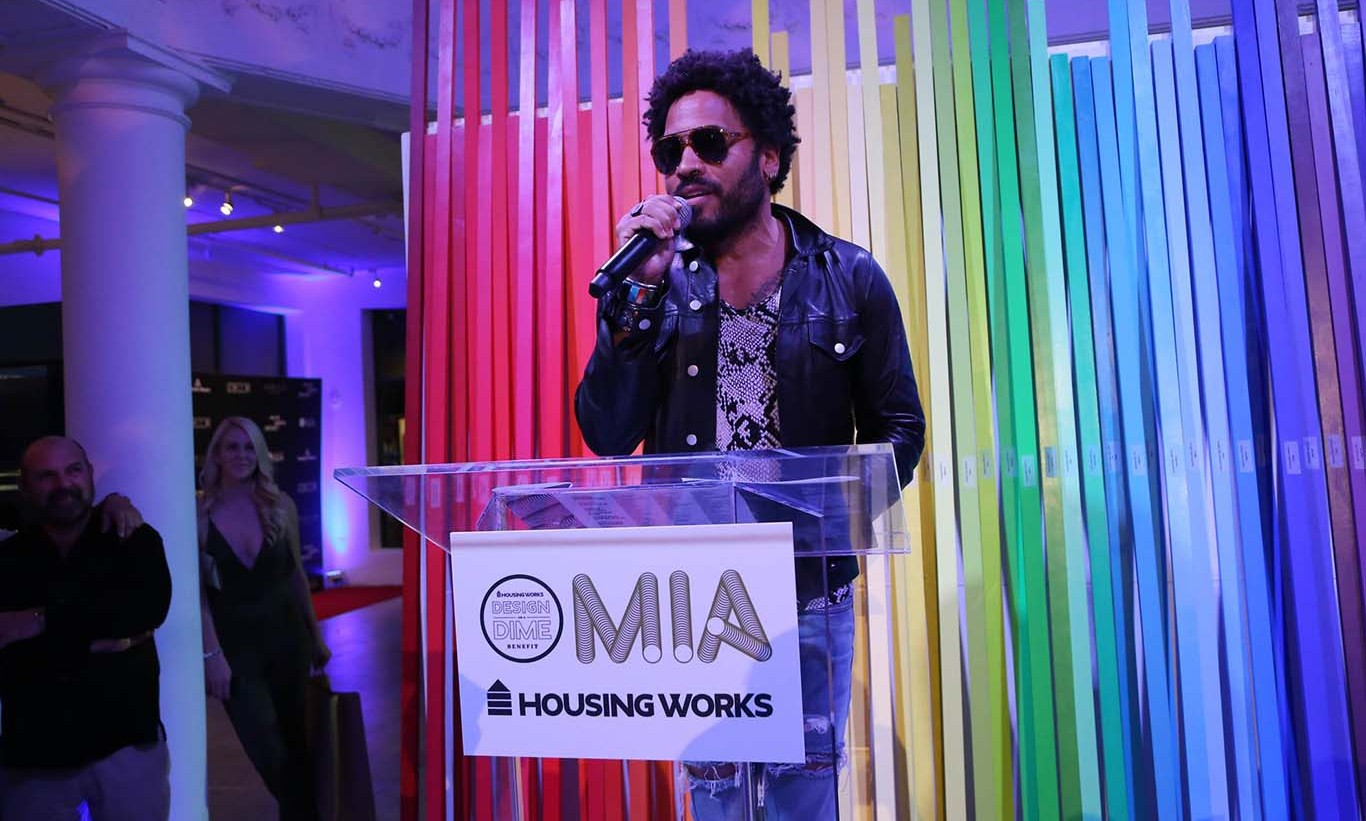 "February 5: Award winning style! Lenny Kravitz was presented with the ""Giving by Design"" award during the Design on a Dime benefit in Miami. 