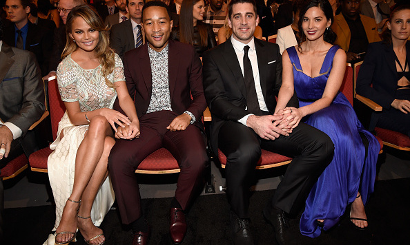 February 6: Double date night! Chrissy Teigen and John Legend sat with Olivia Munn and Aaron Rodgers during the 5th annual NFL Honors. 