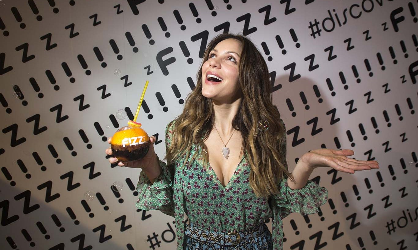 February 6: A little fizzle! Katharine McPhee paid a visit to F!ZZ, a new playful soft drink mixology concept from PepsiCo, at the Super Bowl 50 NFL Experience in San Fransisco. 