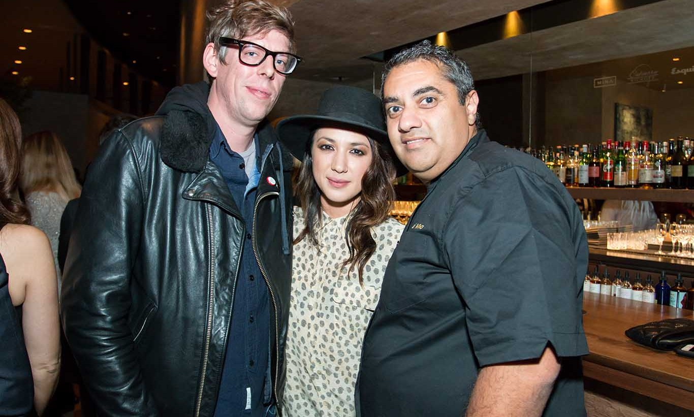 Dish it up! Black Keys drummer Patrick Carney, Michelle Branch and Chef Michael Mina chatted before the Culinary Kickoff where Mina was joined by chefs including Charlie Palmer, Todd English and David Burke and NFL player turned wine owner, Charles Woodson for a multi-course dinner capped with a performance from Grammy-nominated Leon Bridges at MIna's flagship SF restaurant to benefit the Culinary Arts Institute of America.