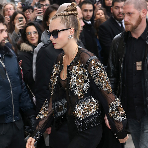 Is there a cooler braid out there than Cara Delevingne's? The model wore a braided top knot bun for Chanel's Haute Couture Spring Summer 2016 show.