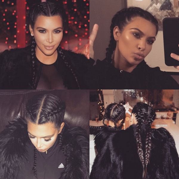 "Kim Kardashian has been sporting the look since welcoming her second child, Saint West, back in early December. The reality star admitted that she likes the style because it makes her ""face look skinny.""