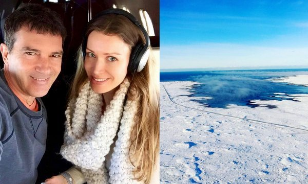 "Antonio Banderas and his girlfriend Nicole Kimpel flew by private jet to Iceland in February 2016. ""Perfect day to grab the towel and go to the beach,"" he joked on Instagram.