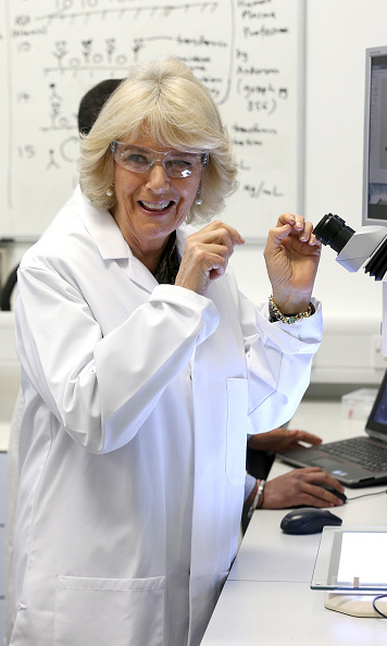 Duchess Camilla donned a white coat to visit the Hybrid Bio Devices Lab at the University Of Southampton where she was also awarded an Honourary Doctorate.