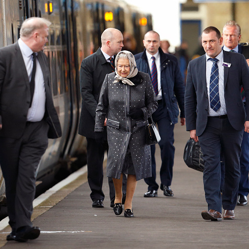 Queen Elizabeth boarded a train at King's Lynn Station to return to London after her Christmas break at Sandringham House.