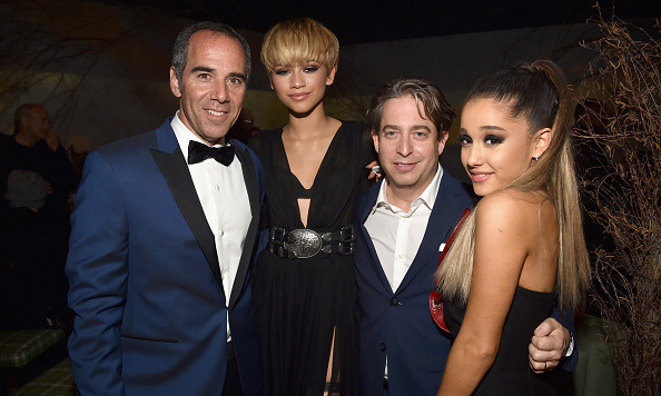 Zendaya and Ariana Grande celebrated music's biggest night with top record execs at the Republic Records after party. 