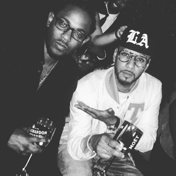 Swizz Beatz posed with the man of the hour, Kendrick Lamar, during his Grammys after party. 