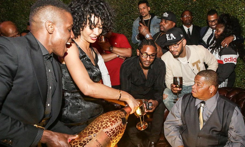 Grammy winner Kendrick Lamar celebrated with Swizz Beatz, family and bottles of Moët & Chandon Nectar Imperial Rosé  at the Roosevelt Hotel in L.A. 