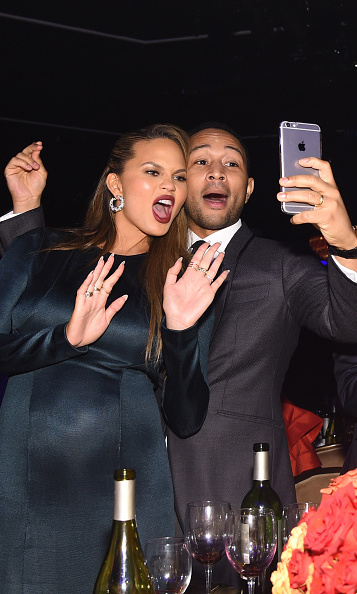 Chrissy Teigen and John Legend recorded a cute selfie video during the 2016 Pre-GRAMMY Gala and Salute to Industry Icons honoring Irving Azoff at The Beverly Hilton Hotel.