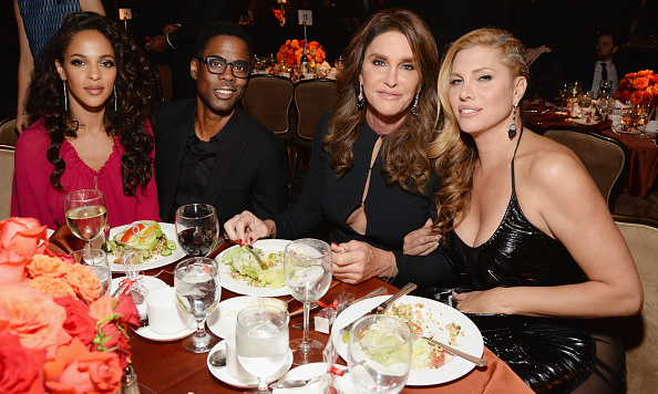 Chris Rock, Malaak Compton-Rock, Caitlyn Jenner and Candis Cayne were all smiles during the the 2016 Pre-GRAMMY Gala and Salute to Industry Icons honoring Irving Azoff at the Beverly Hilton Hotel. 